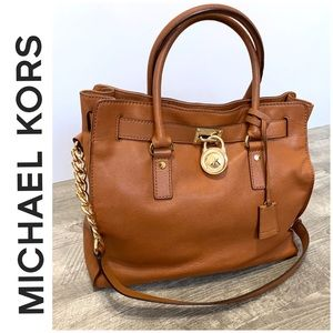 Michael Kors Camel color leather satchel bag